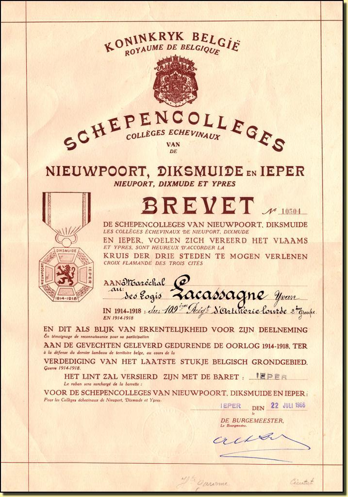 Attribué par la ville d'ypres (ieper) à un artilleur français